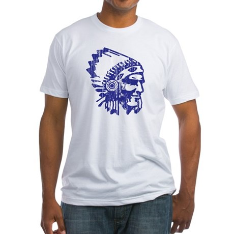 Blue Indian Vintage Fitted T-Shirt