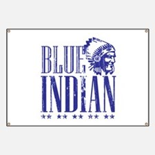 Blue Indian Head Dress Vintage Banner