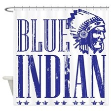 Blue Indian Head Dress Vintage Shower Curtain