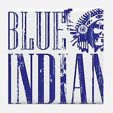 Blue Indian Head Dress Vintage Tile Coaster