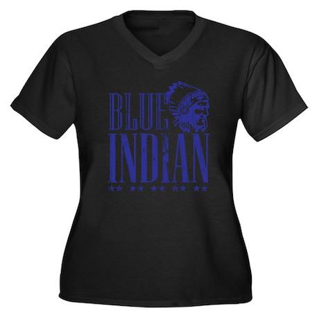 Blue Indian Head Dress Vintage Women's Plus Size V