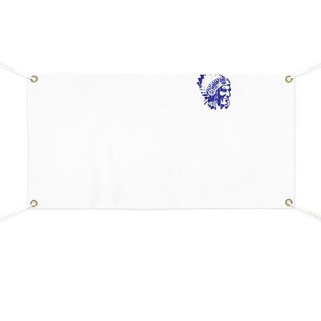 Blue Indian Head Dress Vintage Banner