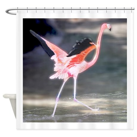 Flamingo on the Run Shower Curtain