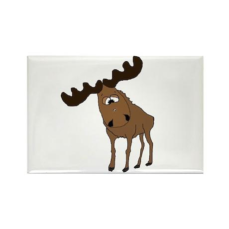 Cute moose Rectangle Magnet (100 pack)