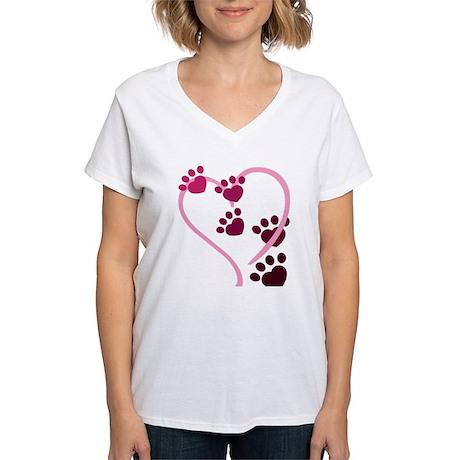 Dog Paws Women's V-Neck T-Shirt