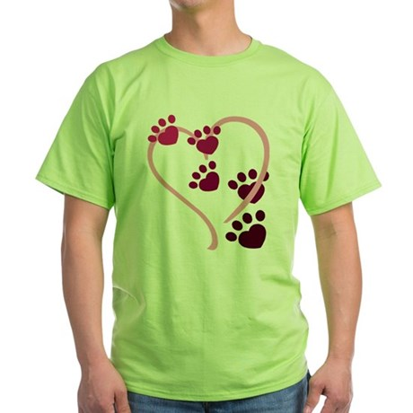 Dog Paws Green T-Shirt