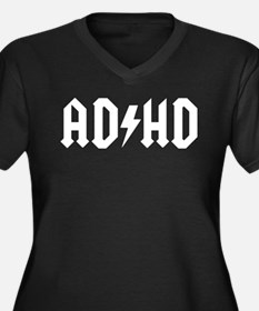 AD HD Women's Plus Size V-Neck Dark T-Shirt