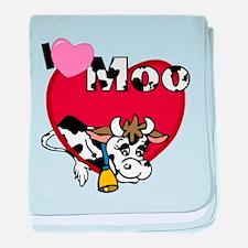 I Love Moo baby blanket