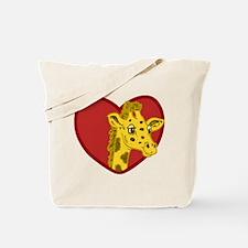 Giraffe Valentine Tote Bag