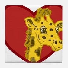 Giraffe Valentine Tile Coaster
