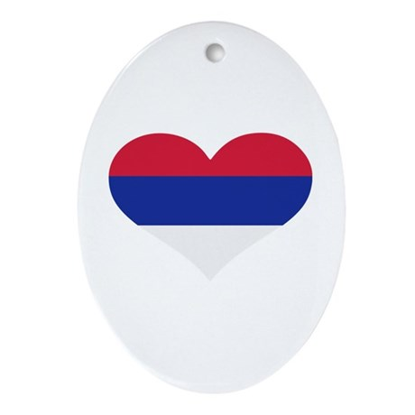 Serbia flag heart Ornament (Oval)