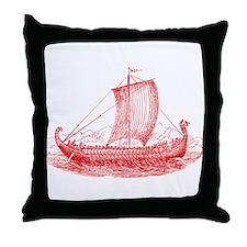 Cool Vintage Viking Ship Design Throw Pillow