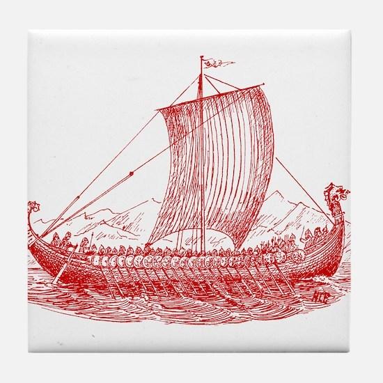 Cool Vintage Viking Ship Design Tile Coaster
