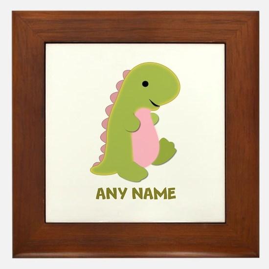 Customizable Dinosaur Print Framed Tile