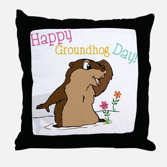 Happy Groundhog Day Throw Pillow