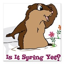 "Is It Spring Yet Square Car Magnet 3"" x 3"""