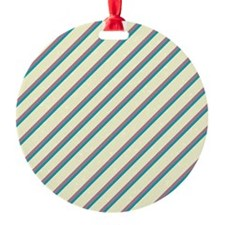 Ivory Purple Blue Diagonal Stripes Ornament
