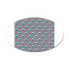 Purple Peacock Polka Dots Oval Car Magnet