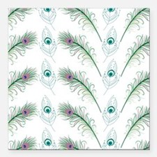 "Peacock Feathers Pattern Square Car Magnet 3"" x 3"""