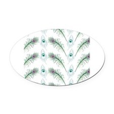 Peacock Feathers Pattern Oval Car Magnet
