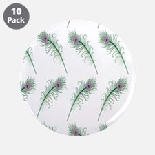 """Peacock Feathers Print 3.5"""" Button (10 pack)"""