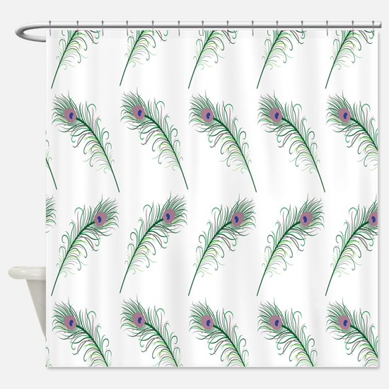 Peacock Feathers Print Shower Curtain