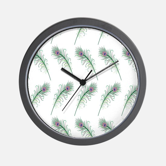 Peacock Feathers Print Wall Clock
