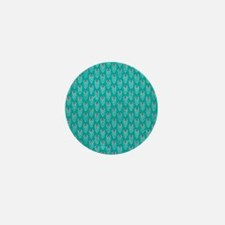 Teal Peacock Feathers Mini Button