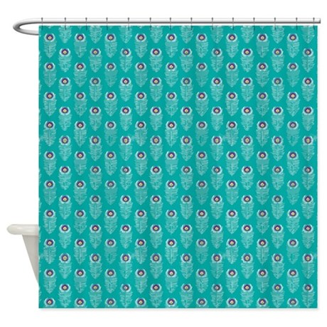 Teal Peacock Feathers Shower Curtain By Printedlittletreasures