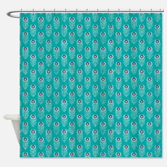 Teal Peacock Feathers Shower Curtain