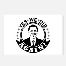 Obama Yes We Did Again BW Postcards (Package of 8)