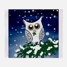 Christmas Snowy Owl Throw Blanket