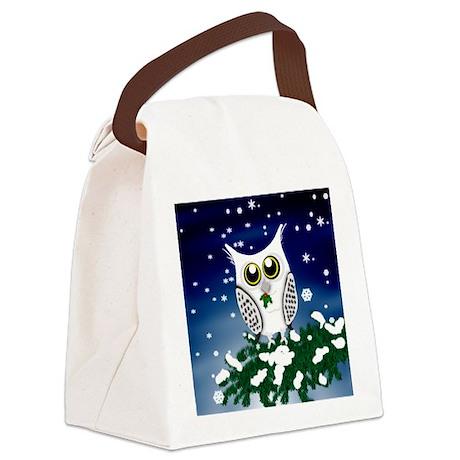 Christmas Snowy Owl Canvas Lunch Bag