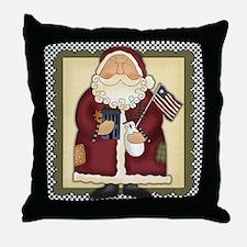 Patriotic Americana Christmas Santa Claus Throw Pi