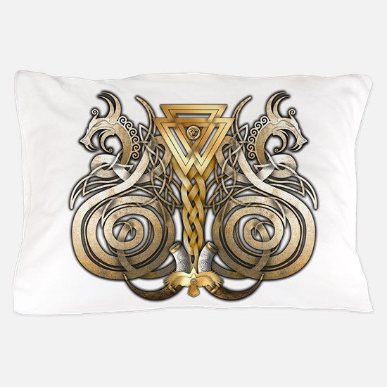 Norse Valknut Dragons Pillow Case