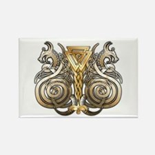 Norse Valknut Dragons Rectangle Magnet
