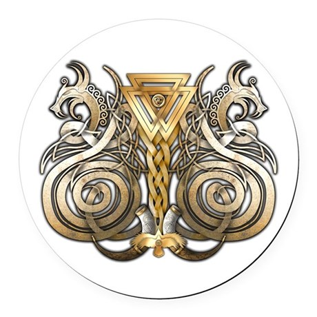 Norse Valknut Dragons Round Car Magnet