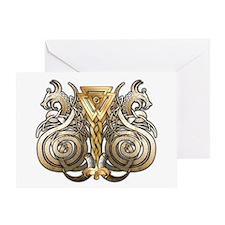 Norse Valknut Dragons Greeting Card