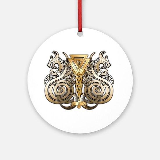 Norse Valknut Dragons Ornament (Round)