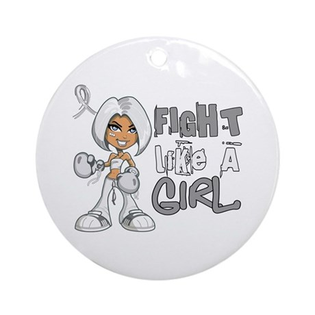 Fight Like a Girl 42.8 Lung Cancer Ornament (Round