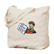 Newsboy Newspaper Delivery Retro Tote Bag