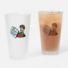 Newsboy Newspaper Delivery Retro Drinking Glass