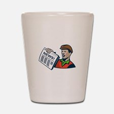 Newsboy Newspaper Delivery Retro Shot Glass