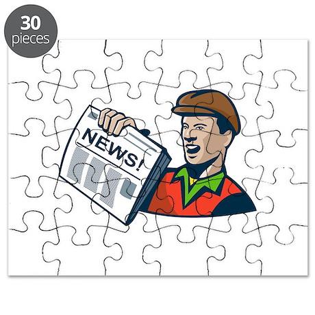 Newsboy Newspaper Delivery Retro Puzzle