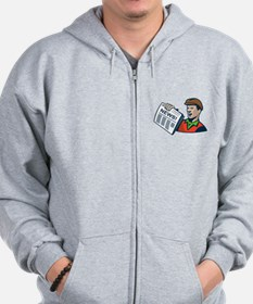 Newsboy Newspaper Delivery Retro Zip Hoodie