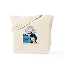Female Internet Shopper Shopping Cart Tote Bag