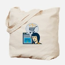 Female Internet Shopper Shopping Cart Tote Bag