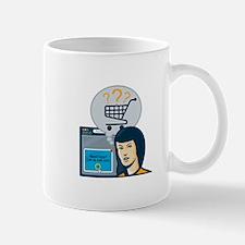 Female Internet Shopper Shopping Cart Mug