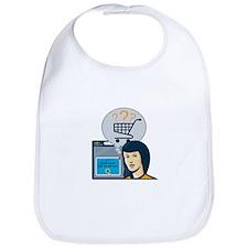 Female Internet Shopper Shopping Cart Bib