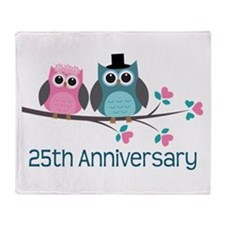 25th Anniversary Owl Couple Gift Throw Blanket